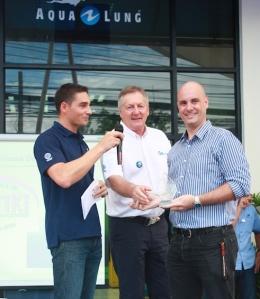 Left to right: Joffrey Tissier, GM Aqua Master; Claude de Crissey, Owner Aqua Master; Stefan Andersson, CEO & Owner Kon-Tiki Thailand