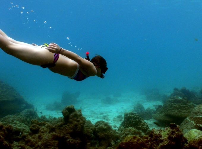 PADI skin diver and snorkler Koh Haa Yai Krabi Thailand